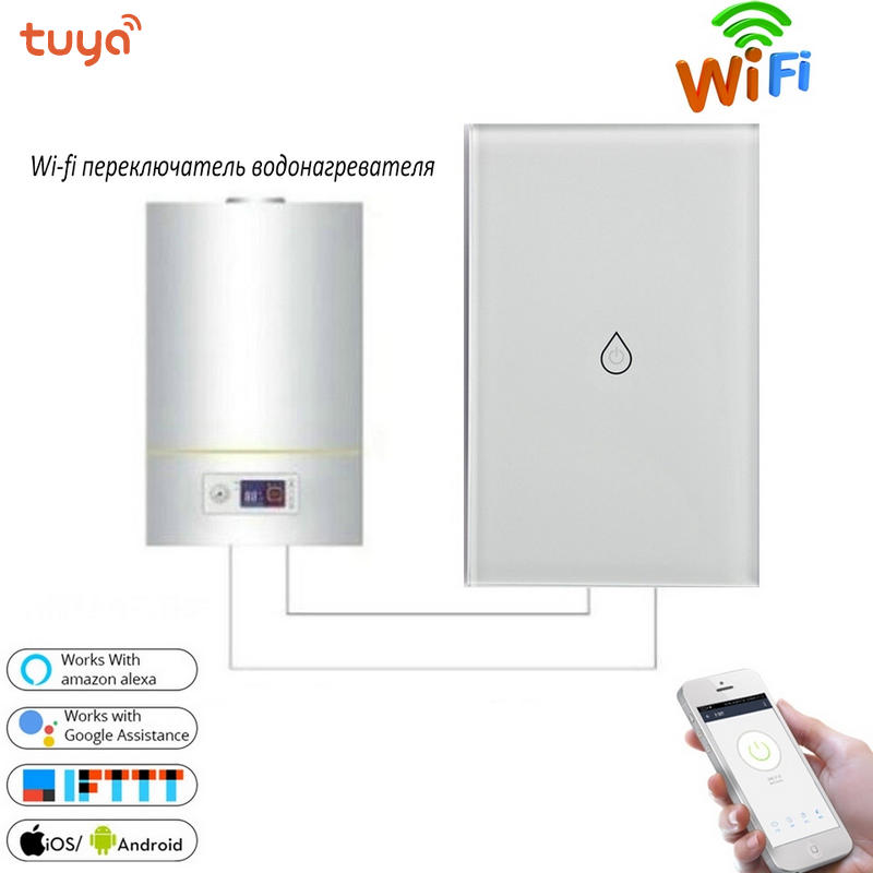 Smart Switch Wifi Boiler Water Heater Switches Voice Remote Control Touch Panel Timer Outdoor work Alexa Google Home US standard