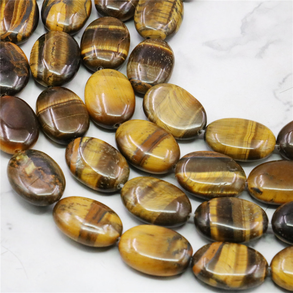 "13x18mm Natural Afrika Roar Tiger Eye Oval Bedak Beads Fashion Jewelry Batu Alam Semi Mulia 15 inch """" Harga grosir"