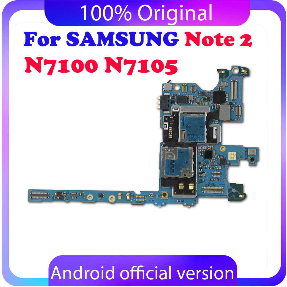Für Original Samsung Galaxy Note 2 N7100 Motherboard 16GB Voll Entsperrt Mainboard Mit Chips Android OS System Logic Board