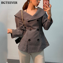BGTEEVER Turn-down Neck Double-breasted Plaid Women Suit Jacket Full Sleeve Slim