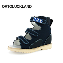 Ortoluckland New Children Sandals Boys Orthopedic Nubuck Leather Shoes Child Dark Blue Casual Corrective Flat Shoes for kids
