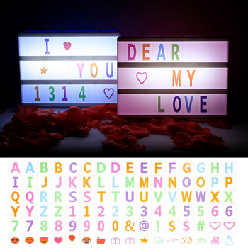 A4 A5 A6 Size LED Combination Night Light Box Lamp 5V Message Board Colorful Letters Cards Decoration Lamp Cinema Lightbox qyjsd a4 size led combination creative night light box lamp diy black letters cards usb port powered cinema light box