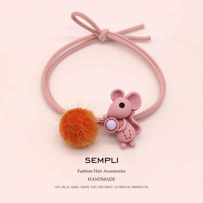 Sempli High Elasticity Elastic Hair Bands Cute Mouse Schnauzer Gum For Women Puffer Ball Hair Band Kid Children Rubber Band New