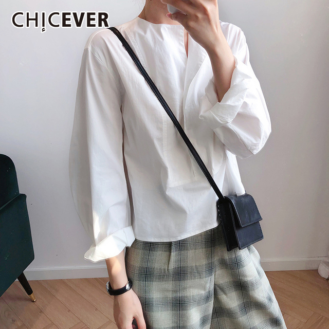 CHICEVER Korean Casual Shirt For Women Square Collar Lantern Sleeve Large Size Loose Blouse Female 2020 Autumn Fashion New