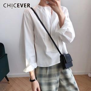 Image 1 - CHICEVER เกาหลีเสื้อลำลองผู้หญิงสแควร์คอโคมไฟแขนขนาดใหญ่เสื้อหลวมหญิง 2019 แฟชั่นฤดูใบไม้ร่วงใหม่