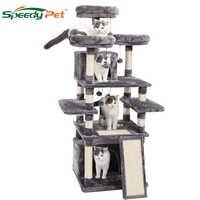 Arbre à chat robuste de 63 pouces avec bol d'alimentation Condos à chat avec poteaux en Sisal hamac chat jouets arbre d'escalade pour chats