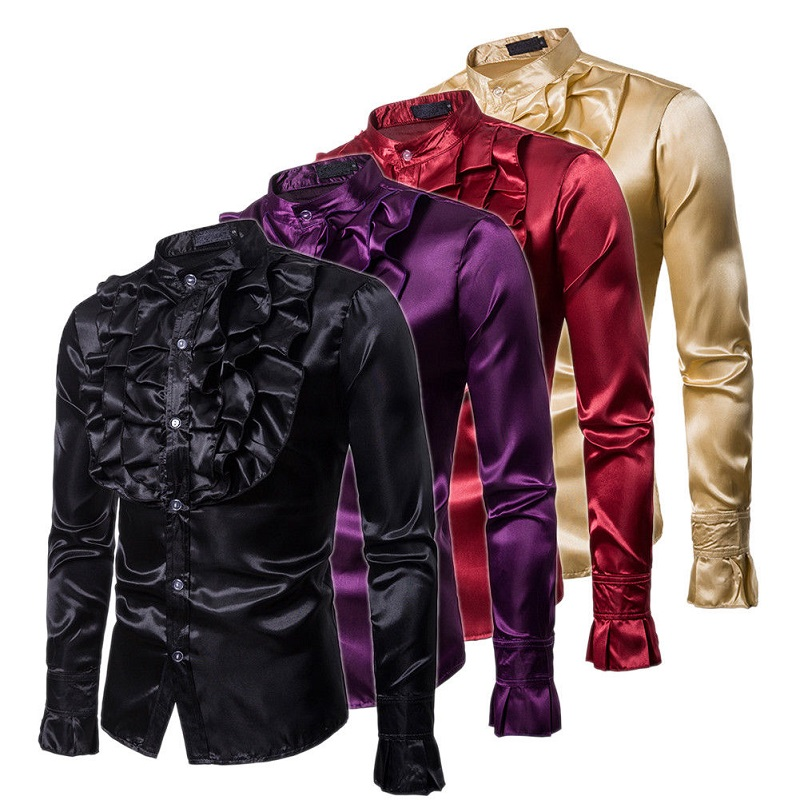 Autumn New Arrival Mens Slim Frill Ruffle Stand Collar Mens Dress Fancy Clothing Wedding Party Stylish Formal Shirt Tops S-2XL