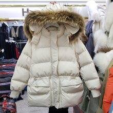 Новинка, осенне-зимнее однотонное пальто с воротником из натурального меха, с эластичной талией, с хлопковой подкладкой, женский толстый пуховик, парка с капюшоном