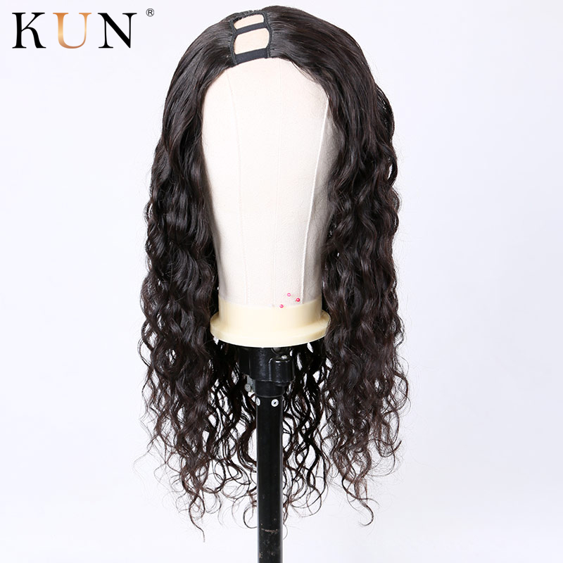 U Part Wig Human Hair Wigs 150 Density Body Wave Wig Right Part Brazilian Remy Pre Plucked Hairline Glueless For Women KUN Hair
