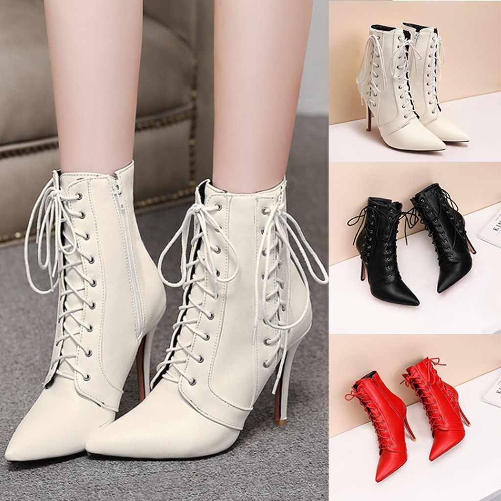 ฤดูใบไม้ร่วงฤดูหนาว 2020 ฤดูหนาวใหม่ผู้หญิงข้อเท้ารองเท้าชี้ Toe Slim Heels ลูกไม้บน Elegant ออกแบบสำหรับสตรีรองเท้า 19 # O21
