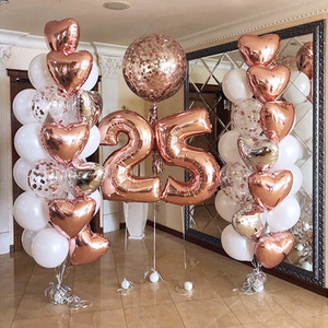 Rose Gold Balloons Large Number Heart Confetti Balloon Baby Shower Wedding Birthday Party Decoration Kids Air Helium Globos