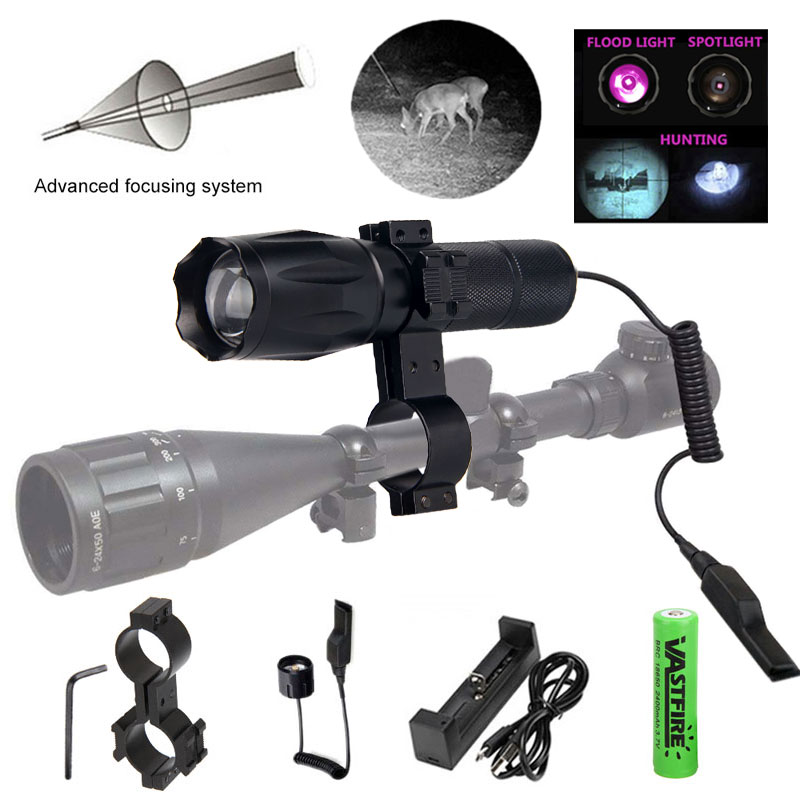 IR-A100 7W 940nm Night Vision Hunting Weapon Light Infrared Zoomable IR Flashlight+18650+Charger+Switch+Rifle Scope Mount+Case