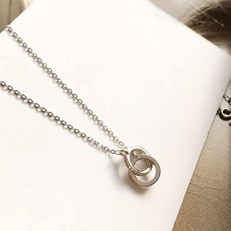 Collier femmes clavicule chaîne alliage mode Double anneau pendentif bijoux femmes collier approprié fête vêtements quotidiens