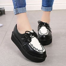 Creeper 2020 Women Flats Lace Up Platform Shoes