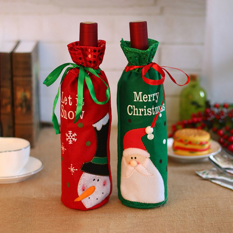 Christmas Wine Bottle Decor Red Wine Bottle Cover Bags Decoration Home Party Santa Claus Christmas