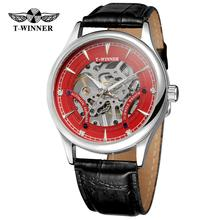 T-WINNER fashion casual men's watch red dial silver case black leather strap aut