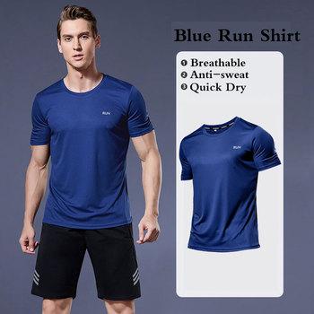 Męskie koszulki do biegania Quick Dry t-shirty sportowe Fitness Gym koszulki do biegania koszulki piłkarskie męska koszulka sportowa odzież sportowa tanie i dobre opinie CN (pochodzenie) Wiosna summer AUTUMN POLIESTER Dobrze pasuje do rozmiaru wybierz swój normalny rozmiar Anti-sweat Anti-sweat Quick Dry Reflective