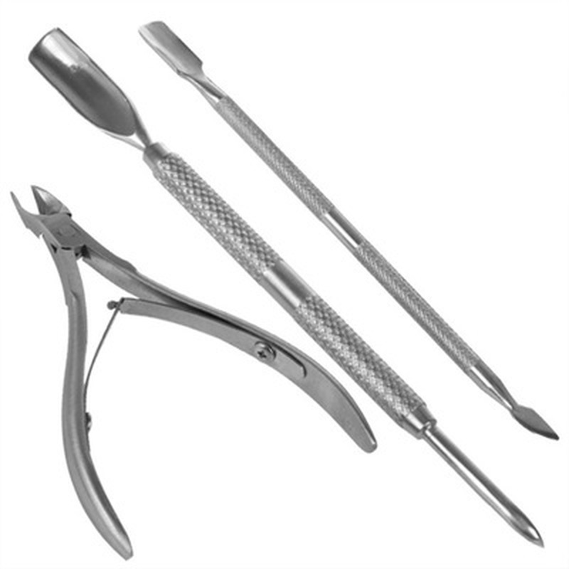 3 Pcs Stainless Steel Nail Cuticle Scissor Spoon Pusher Remover Nail Cutter Clipper Nipper Home Use Pedicure Foot Care Tool Set