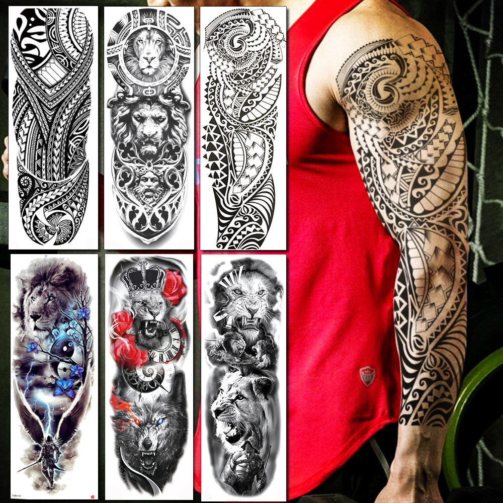 BAOFULI Full Arm Men Women Temporary Tattoo Sticker Black Long Maori Totem Fake Tattoos Body Art Waterproof Tatoo Sticker Makeup