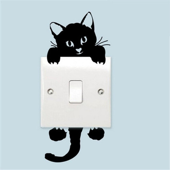 Hot Sale Cute New Cat Wall Stickers Light Switch Decor Decals Art Mural Baby Nursery Room Sticker PVC Wallpaper for Living Room image