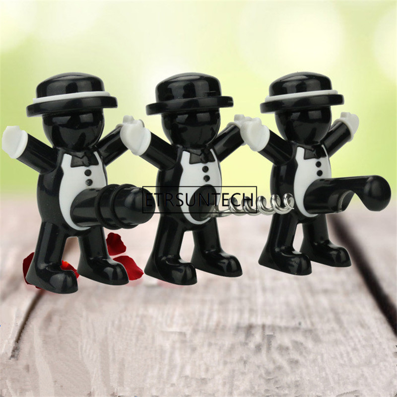 400pcs/lot Creative Black Gentleman Red Wine Beer Bottle Opener Wine Stopper Bar Tool Kitchen Furniture Decoration Accessories