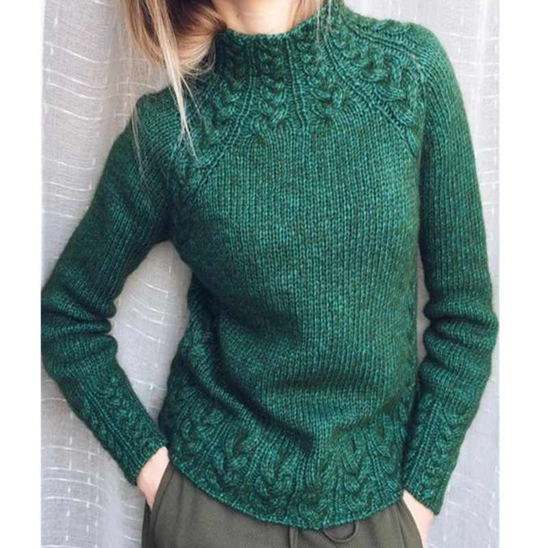 Casual Women's Clothing Female Solid Color O-Neck Long Sleeved Knitted Sweater Women Soft Pullovers