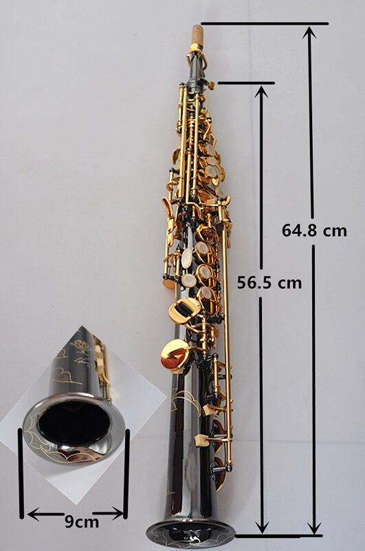 France Soprano Saxophone R54 Straight Sax B Flat Saxofone Professional Musical Brass Instruments Black Nickel Gold Accessories - 6