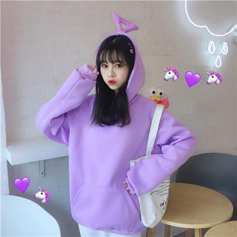 Cute Teletubbies Hoodies Women Solid Kawaii Sweatshirt Plus Velvet Korean Casual Long Sleeve Tops Female Oversize Warm Pullover