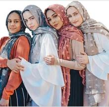 M3 alta qualidade tingido impresso crinkle hijab simples viscose cachecol hijab xale feminino longo cachecol/cachecóis 10 pçs 180*90cm