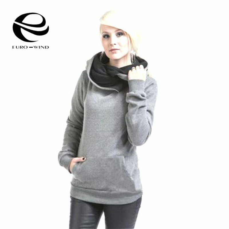 زائد الحجم بلوزات الخريف الشتاء الأزياء الصلبة اللون المتناثرة السترة فضفاضة سميكة المرأة هوديس بلوزات Kpop Bangtan