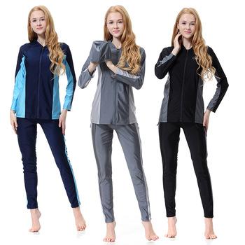 2020 nowy Burkini kąpielówki muzułmańskie moda islamski Mayo zamek islamski strój kąpielowy z Pad hidżab Sport plaża muzułmanin Burquini Hasema tanie i dobre opinie NYLON KB105 Pasuje prawda na wymiar weź swój normalny rozmiar 2020 New Burkini Muslim Swimwear Fashion Islami Mayo Zipper Islamic Swim Wear
