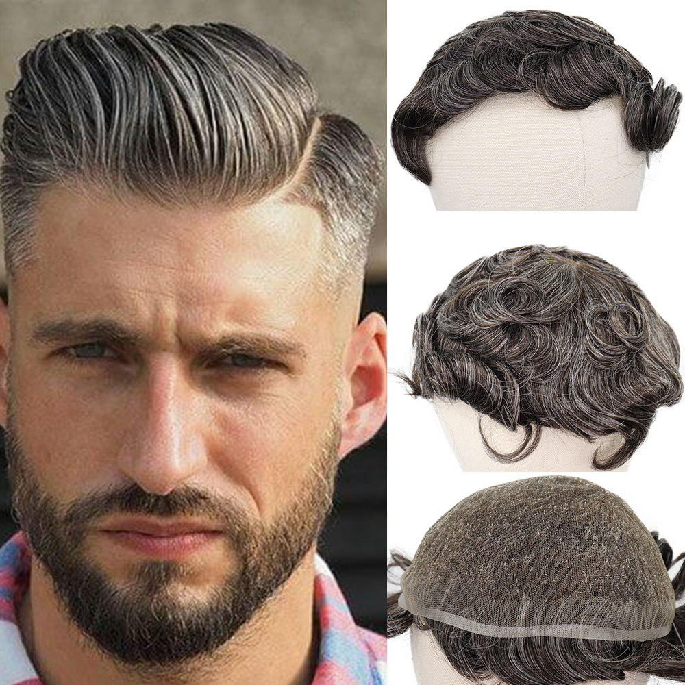 YY Wigs #3 40% Grey Human Hair Mens Toupee Indian Remy Hair Replacement System 6 Inch Curly Toupee For Men French Lace Hairpiece