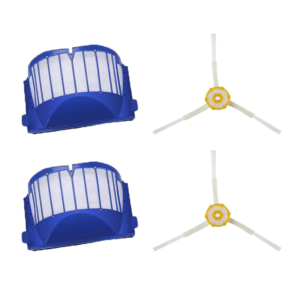 2PCS 3-Armed Side Brushes 2PCS Aero Vac Filters Kit for iRobot Roomba 600 620 630 650 660 680 Robot Vacuum Cleaner image