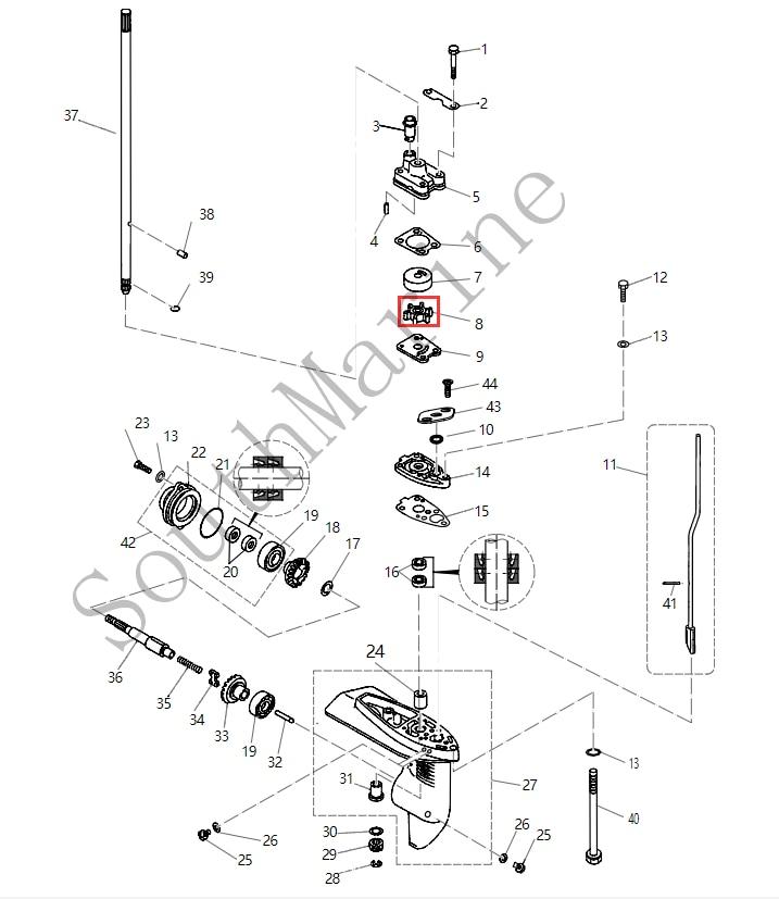 Boat Motor 6E0-44352-00 Water pump impeller for Yamaha F4 F5 outboard motor 4-stroke