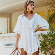 Bathing Suit Cover Ups Dresses for The Beach Cotton Street Style New Hot Hollow-out Lace Sleeve Blouse Holiday 2019 In Summer