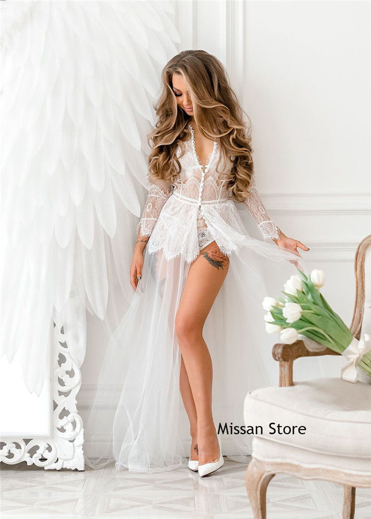 Sexy Ivory Lace Tulle Wedding Robe  Bridal Sleepwear Wedding Party Robe