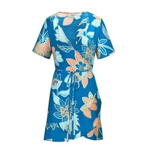 Dress Women's Bohemian Dress V Neck Short Sleeve Summer Wrap Dress Ruffles Mini Short Dresses Cross laced bohemian print dress