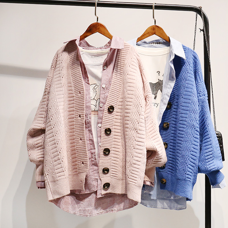 H.SA Autumn Winter Knit Sweater And Cardigans Women 2019 Open Stitch Loose Knit Cardigans Pink Jumpers Winter Sweater Coat Femme