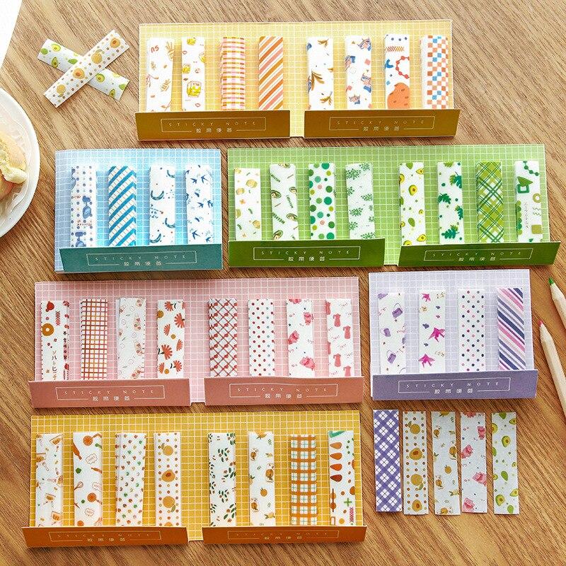 Colorful Fruit Orange Stripe Memo Pad Notes Escolar Papelaria School Supply Bookmark Label