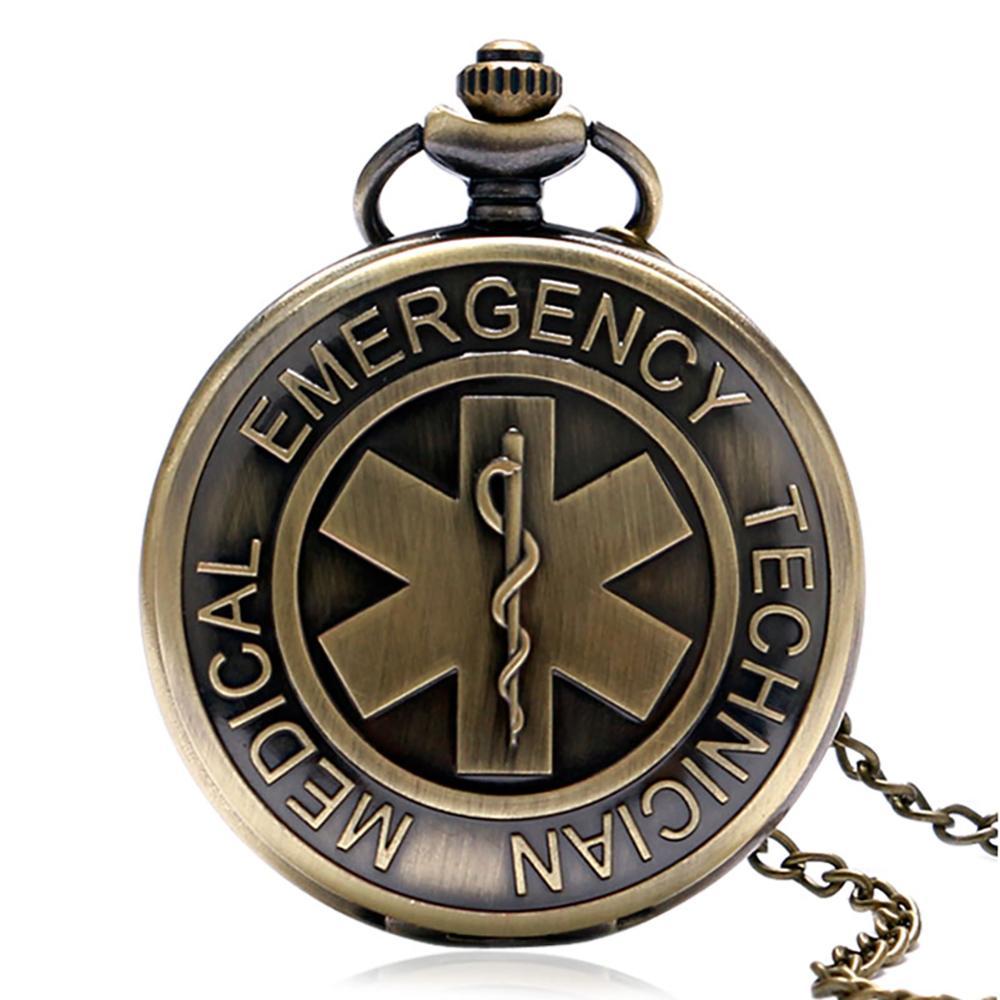 Retro WHO Medical Emergency Technical Design Pocket Watch Men Women Quartz FOB Watches Bronze Necklace Pendant Chain Clock Gift