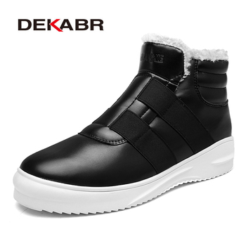 DEKABR Brand Men Ankle Boots Autumn Winter Men Snow Boots Slip On Lazy Boots High Quality 2019 Adult Warm Short Plush Footwear