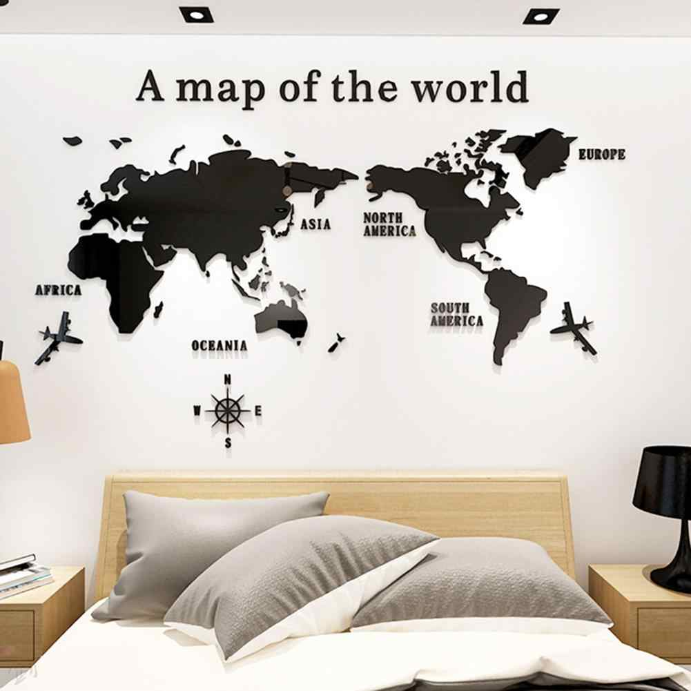 3d Acrylic Wall Sticker Decal World Map For House Living Room Decoration Stickers Bedroom Decor Wall Poster Wallpapers Mural Wall Stickers Aliexpress