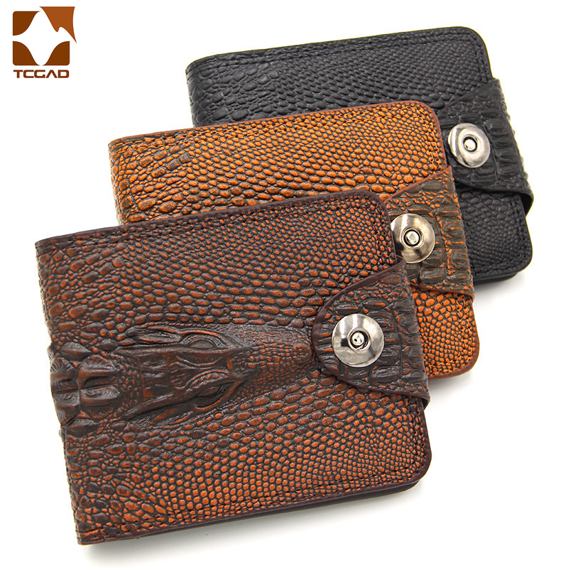 Mens Wallet Leather Genuine Short Purse Billetera Hombre Men Wallets Vintage Style Cartera Hombre Crocodile  Alligato Portemonne