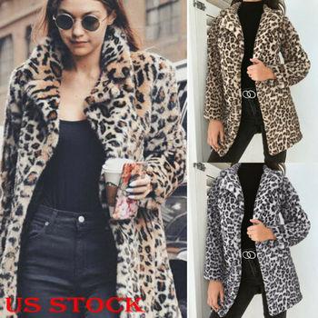 Hirigin 2019 Newest Hot Womens Winter Leopard Fluffy Fleece Jacket Coat Cardigans Hooded Jumper Tops Clubwear