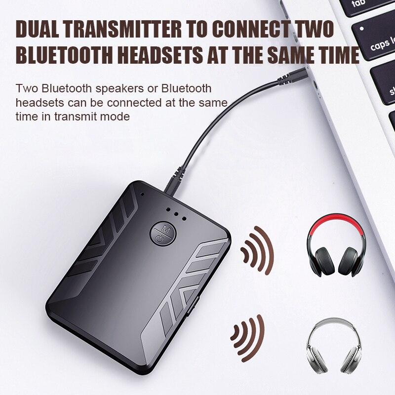 Receptor y transmisor Bluetooth con 2 auriculares para TV, PC y coche, Audio estéreo, música con micrófono, adaptador inalámbrico, RCA, Jack Aux de 3,5mm
