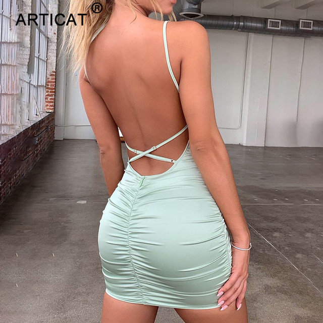 Articat Spaghetti Strap, Mini Satin Dress 2