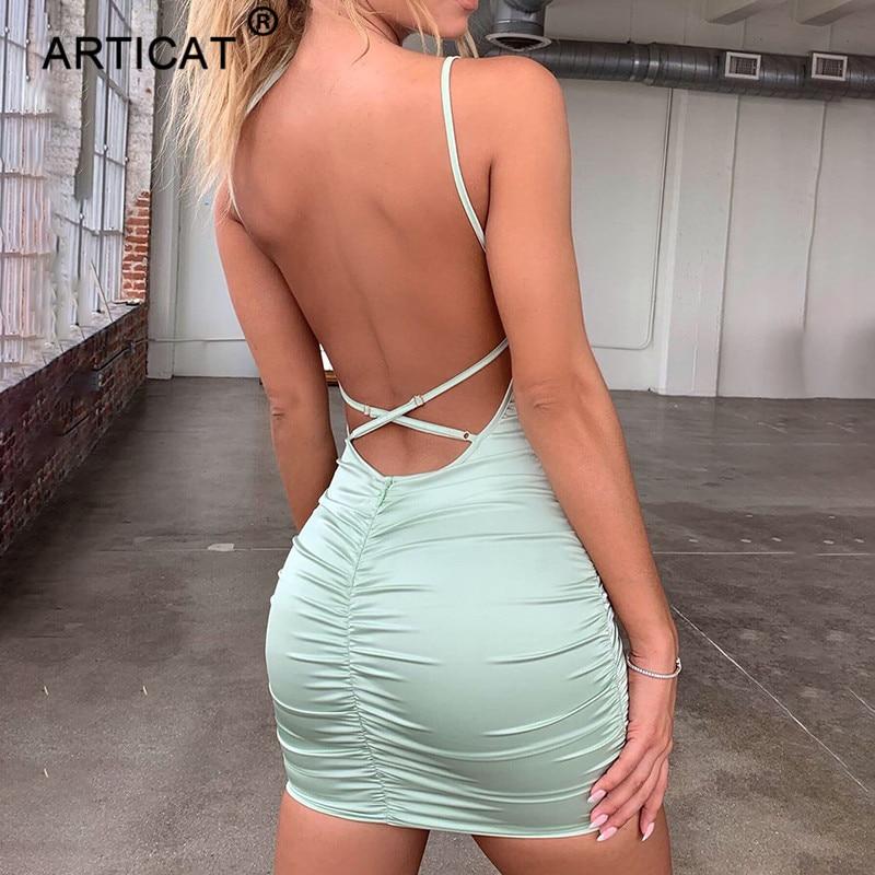 Articat Spaghetti Strap Mini Satin Dress Women Sexy Backless Cross Bandage Bodycon Party Dress Pleated Stretch