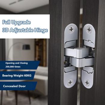Trójwymiarowe niewidoczne zawiasy w drzwiach drewniane drzwi składane drzwi niewidomych krzyż 180 ° wewnątrz i na zewnątrz otwarte ukryte zawiasy tanie i dobre opinie Zinc alloy