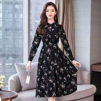 Black Vintage Floral Chiffon Midi Dress Plus Size Boho Dresses 2019 Autumn Winter Elegant Women Party Long Sleeve 306H47