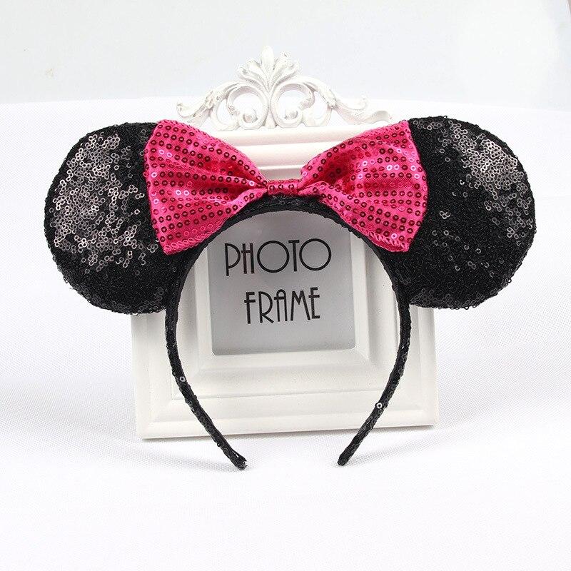Рождество Микки повязка на голову, Минни-Маус и повязка на голову розового цвета со стразами заколки для волос в форме бантиков для девочек оленьи рога, для волос аксессуары для День рождения - Color: 11